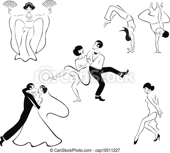 Illustration of five dance styles - csp10511227