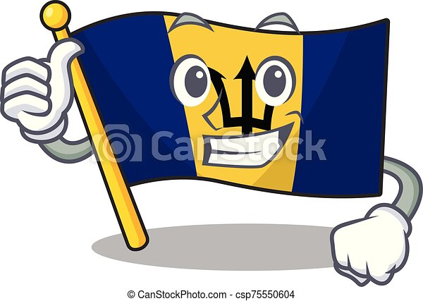 Illustration of flag barbados while making Thumbs up gesture - csp75550604