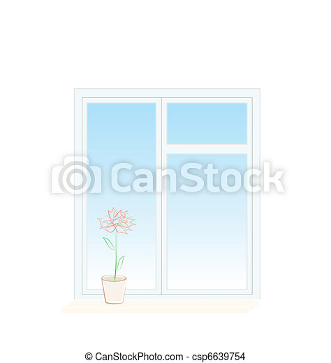 Illustration of flower in a pot on a window sill - csp6639754