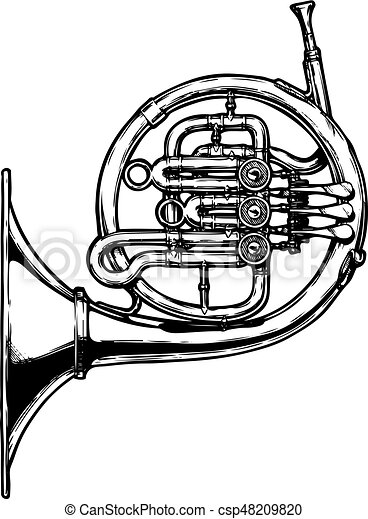 vector hand drawn illustration of french horn black and vector rh canstockphoto com french horn clipart black and white french horn clip art black and white