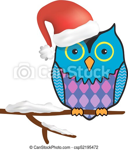 Funny Christmas.Illustration Of Funny Christmas Owl Sitting On A Tree Branch