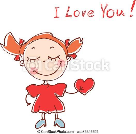 Illustration of funny doodles girl. Vector - csp35846621