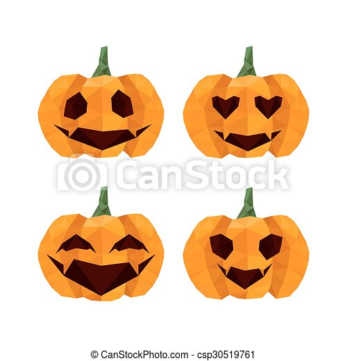 Illustration Of Funny Halloween Origami Pumpkins Emoticons Isolated