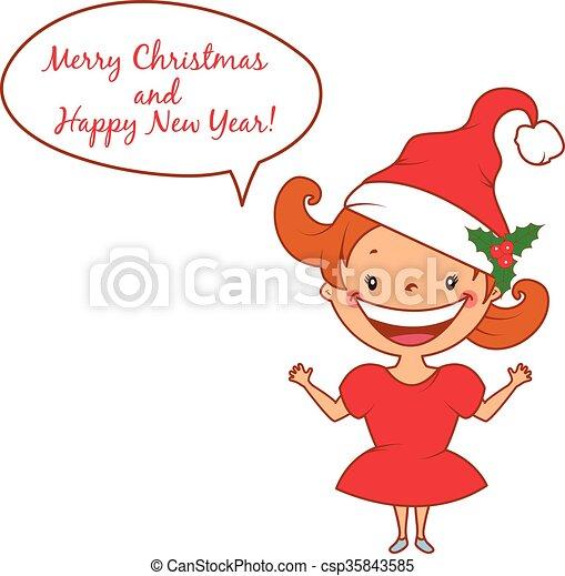 Illustration of funny smiling little girl in santa's hat. Vector - csp35843585