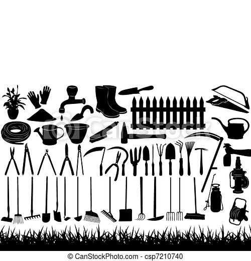 Illustration of gardening tools - csp7210740
