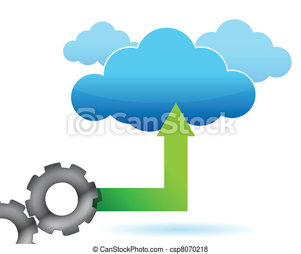 illustration of gear cloud computing on a white vector search clip rh canstockphoto co uk Cloud Computing Logo Cloud Computing Timeline