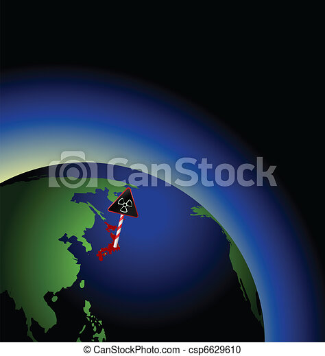 Illustration of global radioactive biohazard after damage on nuclear station in Japan - vector - csp6629610
