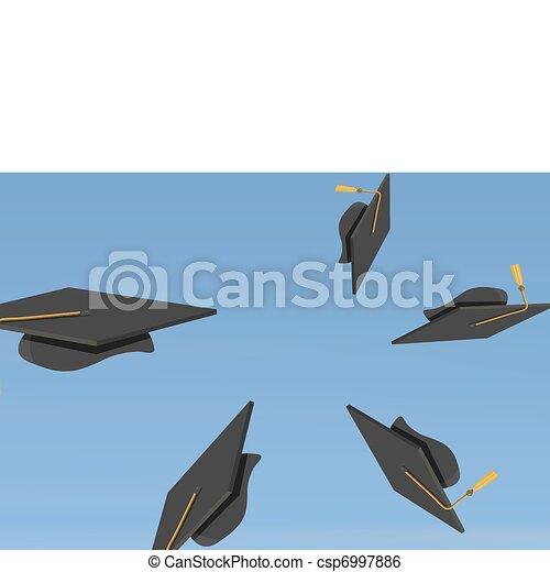 illustration of Graduation Caps Th - csp6997886