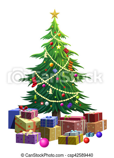 Christmas Tree Illustration.Illustration Of Green Christmas Tree Over White Background
