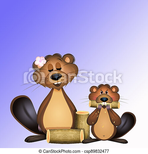 illustration of groundhogs with trunks - csp89832477