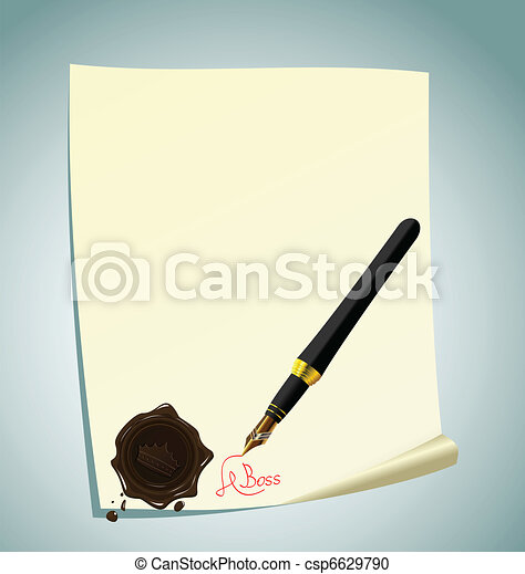 Illustration of hand-draw lettering on the paper with wax stamp - csp6629790