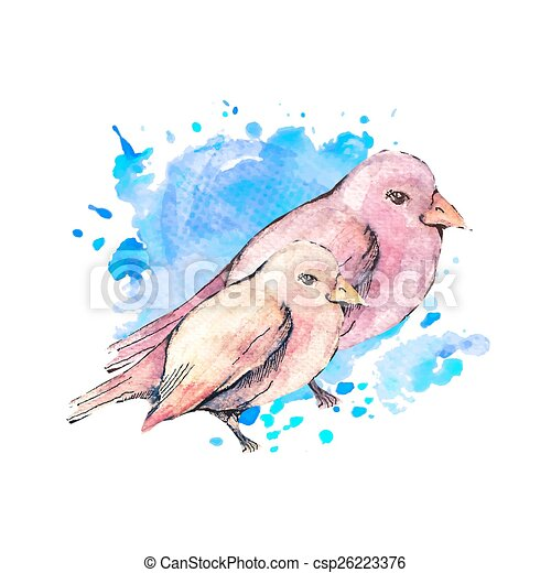 Illustration Of Hand Drawn Birds With Blue Watercolor Background