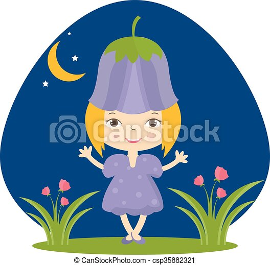 Illustration of happy small girl in flower hat. Vector - csp35882321
