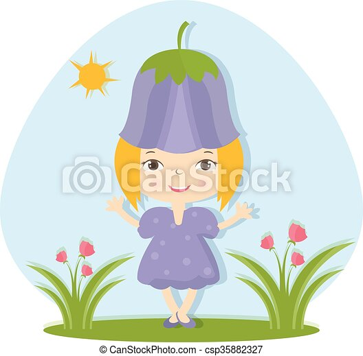 Illustration of happy small girl in flower hat. Vector - csp35882327