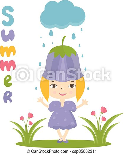 Illustration of happy small girl in flower hat. Vector - csp35882311