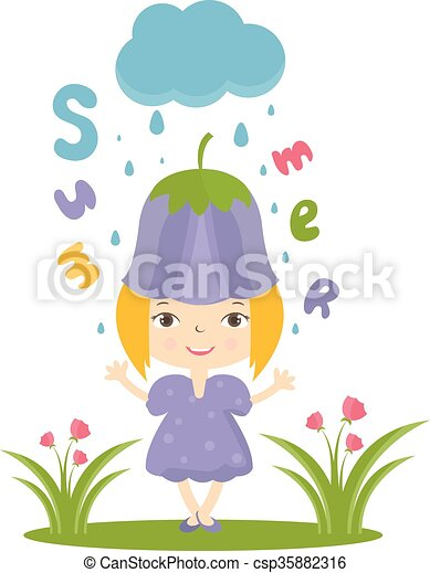 Illustration of happy small girl in flower hat. Vector - csp35882316