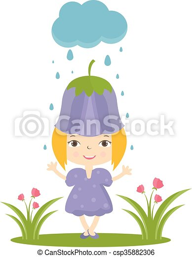 Illustration of happy small girl in flower hat. Vector - csp35882306