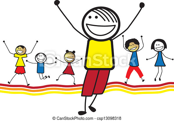 illustration of happy children kids jumping dancing vector clip rh canstockphoto com happy children's day clipart images happy kid clipart