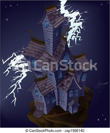 Illustration of haunted house - csp1566140