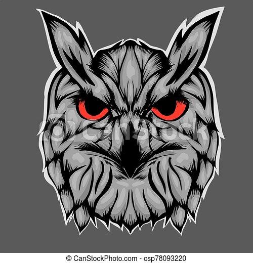 Illustration of head owl - csp78093220