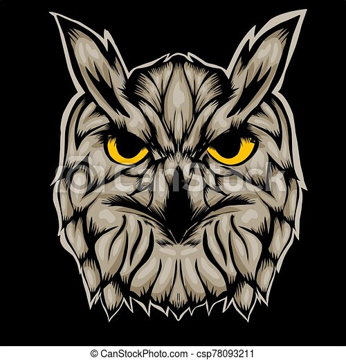 Illustration of head owl - csp78093211