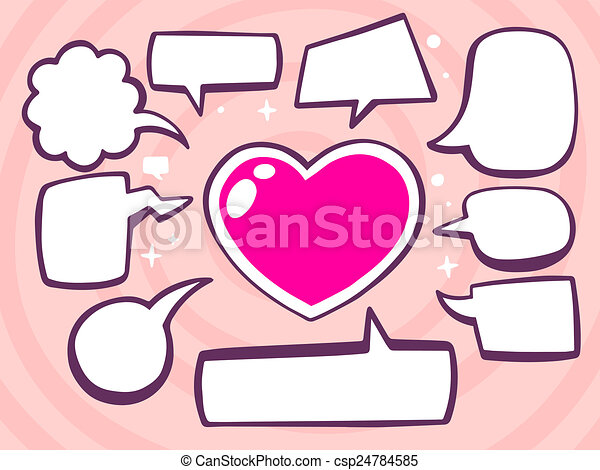 illustration of heart with speech comics bubbles on pink - csp24784585