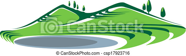 Illustration of hills and lake - csp17923716