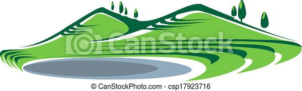 Illustration of hills and lake - csp17923716