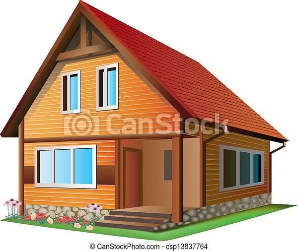 Illustration Of House Vector Illustration Of Small House With Tile Roof On A White Background Canstock