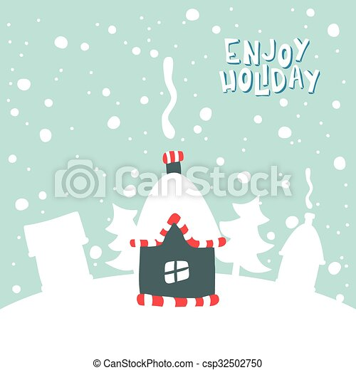 Illustration of house on a snowy background. - csp32502750