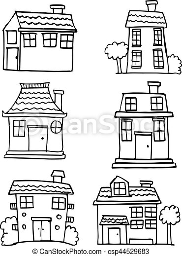 Illustration of house set hand draw - csp44529683