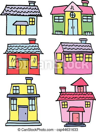 Illustration of house set hand draw - csp44631633