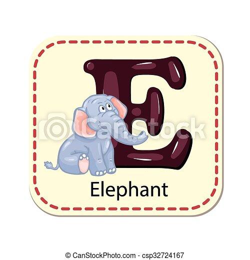 Illustration of isolated alphabet E - csp32724167
