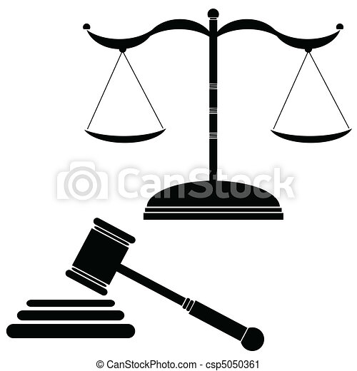 illustration of justice black vecto - csp5050361