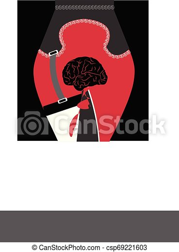 illustration of knife stabbing a brain - csp69221603
