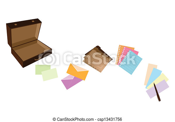 Illustration of Leather Suitcase with Office Supply - csp13431756