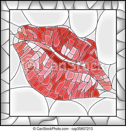 Illustration of lip imprint. - csp35607213