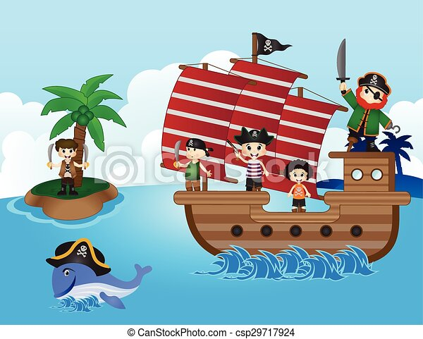 Illustration of little pirates sail - csp29717924