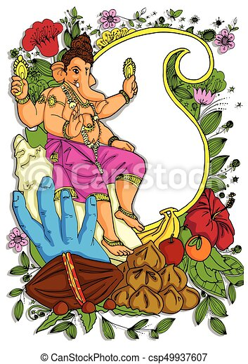 illustration of Lord Ganpati background for Ganesh Chaturthi with message in Hindi Ganapati - csp49937607