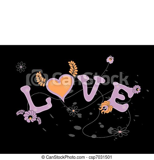 Illustration of love with flowers. Vector art. - csp7031501