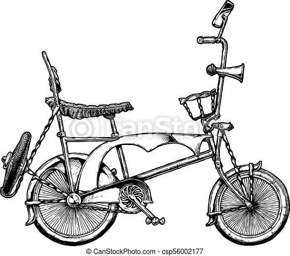 Illustration of lowrider bicycle. Vector ink hand drawn illustration ...
