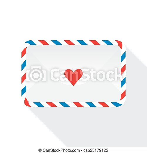 Illustration of mail envelopes isolated on white background. Vector icon - csp25179122