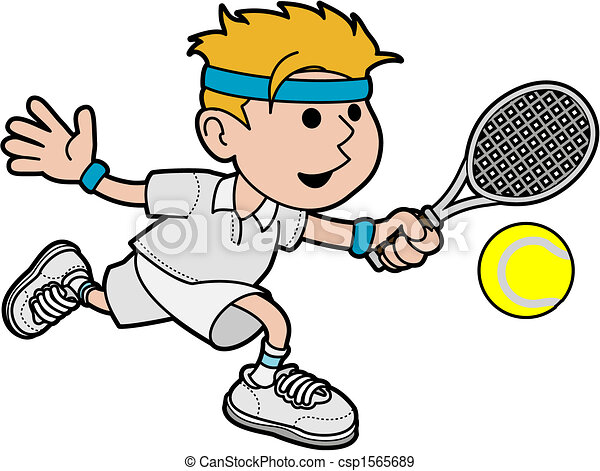 illustration of male tennis player hitting ball with tennis racket rh canstockphoto com clip art tennis player clip art tennis racket