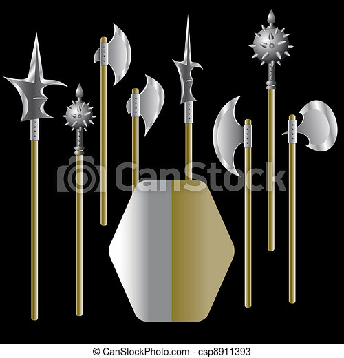 Illustration of medieval weapons and shield  - csp8911393