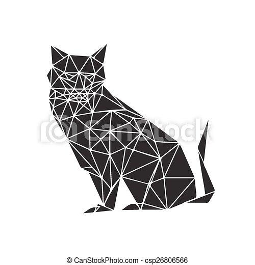 Illustration Of Monochrome Origami Cat