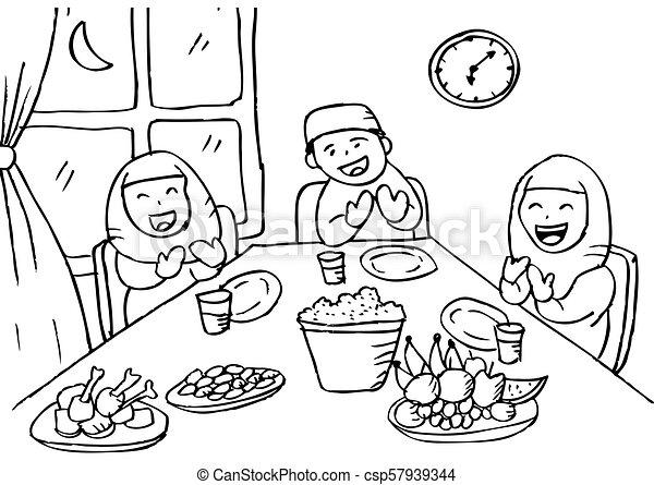 Illustration Of Muslim Family Praying After Eating