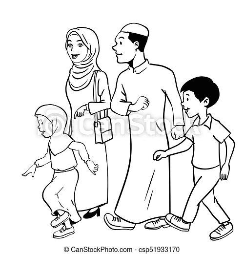 Illustration Of Muslim Family Waliking