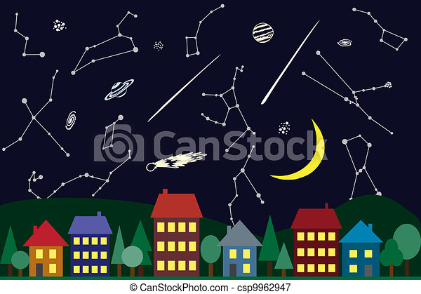 Illustration of night sky above the city - csp9962947