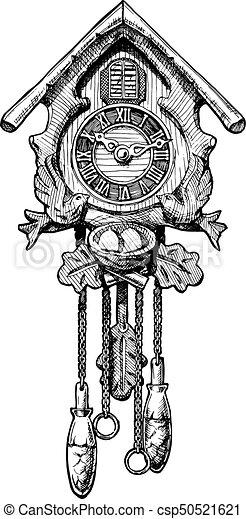 Illustration Of Old Cuckoo Clock Vector Hand Drawn Sketch