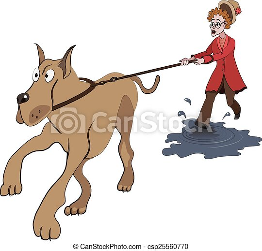 Illustration of old lady trying to walk with big dog on the puddle - csp25560770